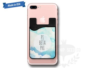 Pi Beta Phi Clouds - Water Color - Phone Caddy - Sticker Pocket Wallet - Personalized Cell Phone Pocket PC 1139