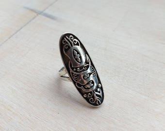 Monogram, DS, vintage silver ring