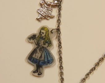Alice in Wonderland jewlery - necklace and earring set - handmade
