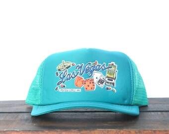 Vintage Teal Turquoise Las Vegas Nevada Gambling Casino Snapback Trucker Hat Baseball Cap