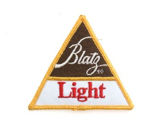 """Vintage Blatz Light Beer Milwaukee Brewery Drinking Triangle Embroidered Patch 3"""" x 3"""""""