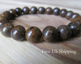 8mm Bronzite Gemstone Bracelet, Womens or Mens Bracelet, Mens Jewelry, Gift for Men, Mala Bracelet,  Yoga Jewelry, Stacking Bracelet