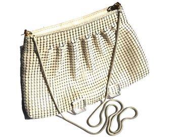 Vintage Cream Mesh Purse,Metal Mesh Evening Bag with Long Snake Chain Cross Body Shoulder Strap,Off White Formal Evening Bag, Wedding Purse