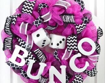 Bunco wreath - bunco party - bunco door wreath - bunco prize - bunco decor - black pink wreath - Zebra print wreath - girls room decor