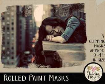 Rolled Paint Clipping Masks - 8 Rolled Paint Photoshop Photography Masks