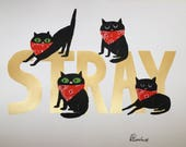 stray cats screen print cheer up charlies