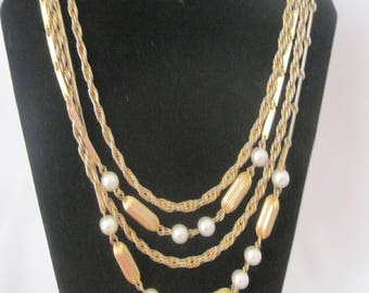 "17"" Vintage Gold Tone 4 Strand Necklace"