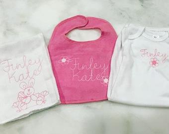 Baby Girl Monogrammed Gift Set