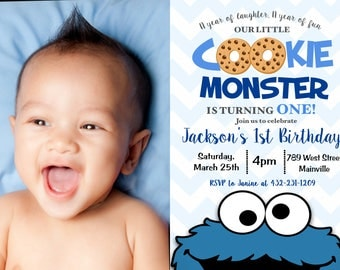 Cookie Monster First Birthday Invitation, 1st Birthday, Cookie Monster, Party, Invitation, Birthday - Printable or Printed