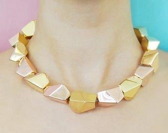 ON SALE NOW Gold Necklace, Nugget Necklace, Sterling Silver, Statement Necklace, Designer Necklace, 18K Gold Plated, Modern Necklace, Rock N