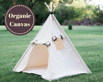 Organic Canvas Play Tent, Kids Teepee, Unique Roll Up Door and Window, READY TO SHIP,  No Flame Retardants or Chemical Treatments