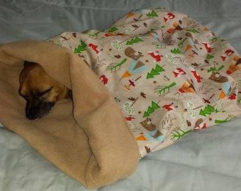 Dog Snuggle sack bed bag blanket.(forest camping).