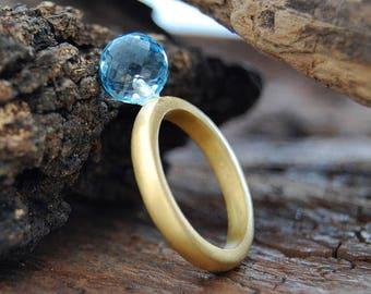 ON SALE NOW Briolite Ball Ring, Blue Gemstone Ring, Globe Ring, Aqua Ring, Blue Briolite, Statement Ring, Stacking Ring, Aqua Ball, Briolite