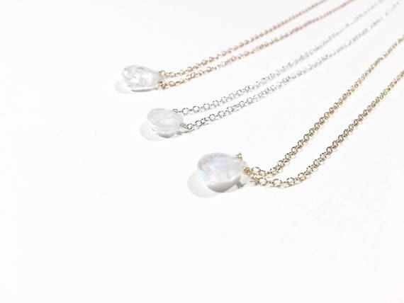 Moonstone Teardrop Choker Necklace // Sterling Silver, 14k Gold Filled or 14k Rose Gold Filled