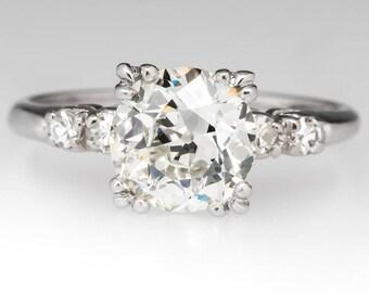 Vintage Diamond Engagement Ring - 1930's 1.7 Carat Old European Cut Diamond W/ Diamond Accents - 1950's Platinum Engagement Ring - WM12341