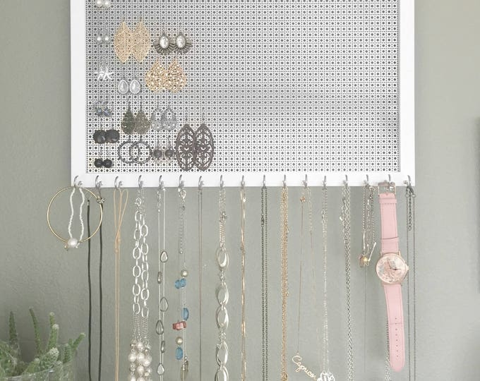 Ultimate Jewelry Organizer - 12x16 White Frame - 17 Necklace Hooks - Hook Earring Holder