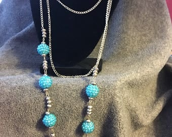 Vintage blue beaded silver multi strand necklace