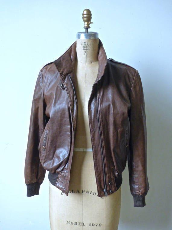 Vintage Brown Leather Bomber Jacket