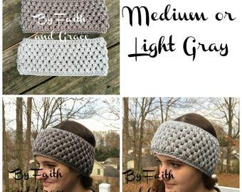 Ear Warmer - Crochet Ear Warmer - Gray Ear Warmer - Crochet Headband - Women's Accessories - Stocking Stuffers - Gifts For Her