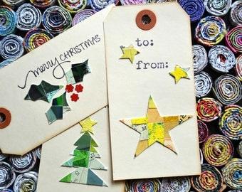 Christmas Gift Tag. Set of Three holiday tags.