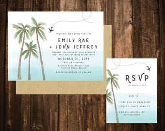 Ombre Palm Tree Destination Wedding Invitations; Printable OR set of 25