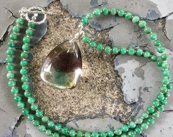 Phantom Quartz and Chrysocolla Necklace