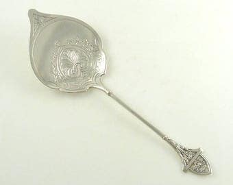 Antique Gorham Sterling Silver Waffle Server Ivy Pattern C 1875 Collector's Silver