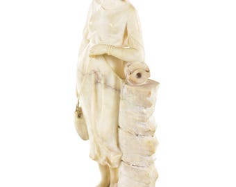 19th century Alabaster Sculpture of a Girl w/ water Jugs- By P. Conti-Signed