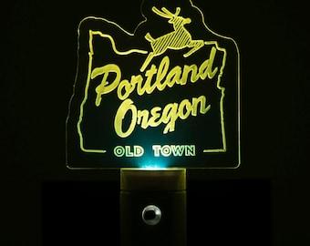 Portland Oregon Old Town Nightlight - Old Town Portland LED Nightlight - White Stag Sign Nightlight - Porland OR Nightlight