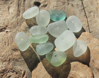 Sea Glass Beads, Aqua Authentic Surf Tumbled Smooth 12pc 10mm-12mm Center Drilled Jewelry Making Beads (CDA-1012-02)