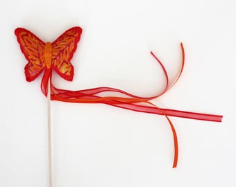Magic Fairy Butterfly Wand - Bright Orange
