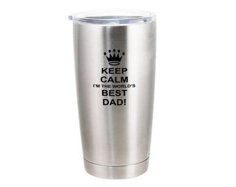 World's Best Dad With a Crown - 20 Ounce Stainless Steel Tumbler