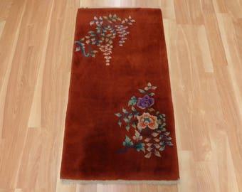 Chinese Oriental Rug 2' 1 x 3' 11 Red Orange
