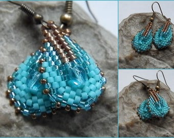 Woven earrings turquoise and bronze