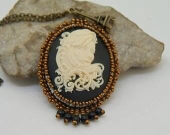 black and bronze cameo pendant