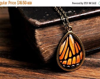 20% OFF Monarch butterfly wing necklace, antique brass necklace, tear drop necklace, glass necklace, orange necklace, monarch butterfly neck