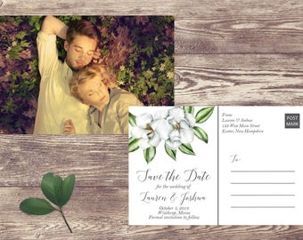 Magnolia Save The Date Postcard, Postcard Save the Date, Photograph Save the Date, Save the Date with Magnolia Flowers, Magnolia Leaves