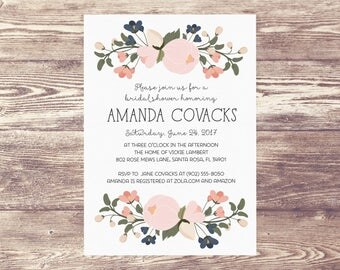 Printed Floral Bridal Shower Invitation, Elegant Bridal Shower Invite, Bridal Shower Invitation with Blush Flowers, Navy and Blush Bridal