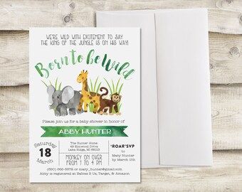Baby Shower Invitation, Born to be Wild Baby Shower Invitation, Safari Baby Shower Invite, Baby Animal Baby Shower, Safari Baby Shower