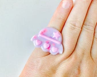 Pastel Goth Lavender Holographic Spaceship Resin Adjustable Ring
