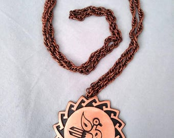 1960s Bell Copper Road Runner Pendant Necklace Novelty Copper Necklace