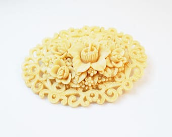 1930s Large Carved Celluloid Floral Brooch Large Deco Brooch