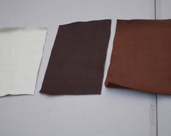 Earth tone  cowhide leather 3 craft panels/pieces  27.5 x 20 cm