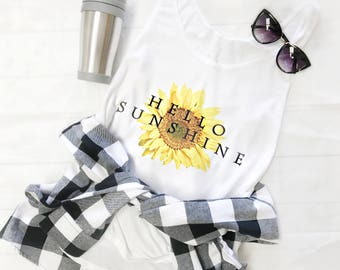 Hello Sunshine Tank Top, Sunflower Clothing, Trendy Summer Clothes, Side Slit Tank