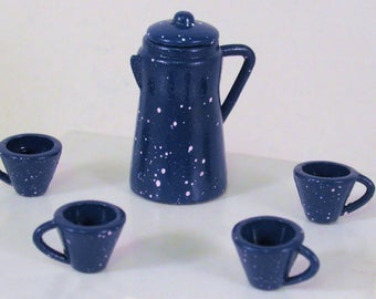 Vintage dollhouse enamel ware coffee pot old fashioned white speckled dark blue with 4 mugs or cups. 1 to 12 scale miniature. Handmade USA.