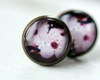 Stud earrings, 12 mm, flower, flower