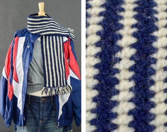 Vintage 1960s Scarf, Handmade Crochet Scarf, Winter Scarf Acrylic Scarf, Dark Blue White Mod Scarf  with Fringe, Gift for her, Ready to Ship