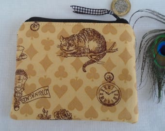 Handmade Coin Purse Wallet Pouch Alice in Wonderland yellow fabric Cheshire Cat, Fully lined and lightly padded.  Ideal gift - pocket money