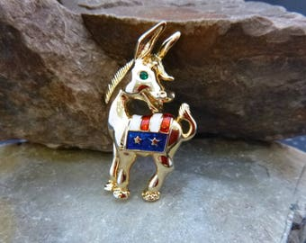 Democratic Red White and Blue Donkey Figural Vintage Patriotic Pin