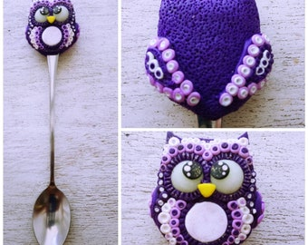 Owl Spoon with owl Long spoon with owl Spoon for coffee Coffee spoon with owl Spoon with decor Decorations with owl Lilac Owl whis owl